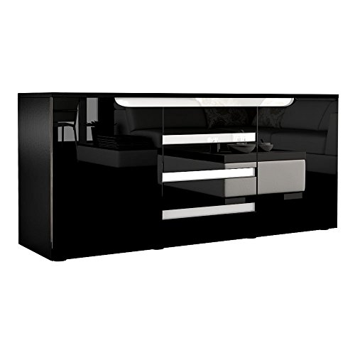sideboard kommode sylt in schwarz schwarz hochglanz mit absetzungen in wei 0 m bel24 shop xxxl. Black Bedroom Furniture Sets. Home Design Ideas
