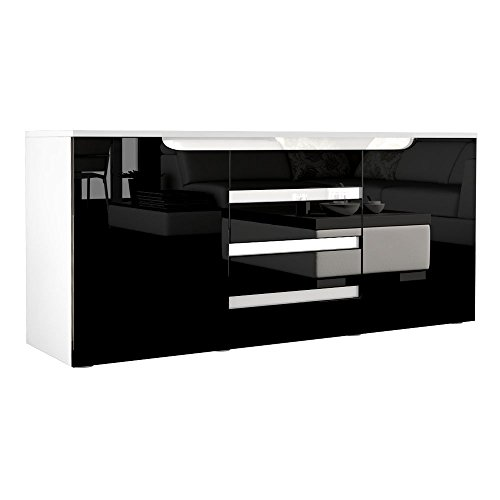 sideboard kommode sylt korpus in wei matt front in schwarz hochglanz mit absetzungen in. Black Bedroom Furniture Sets. Home Design Ideas