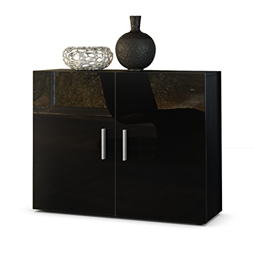 kommode sideboard vega korpus in schwarz matt front in schwarz hochglanz m bel24 shop xxxl. Black Bedroom Furniture Sets. Home Design Ideas