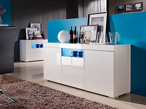 sideboard kommode wei led wohnzimmer schlafzimmer hochglanz modern elegant m bel24 shop xxxl. Black Bedroom Furniture Sets. Home Design Ideas