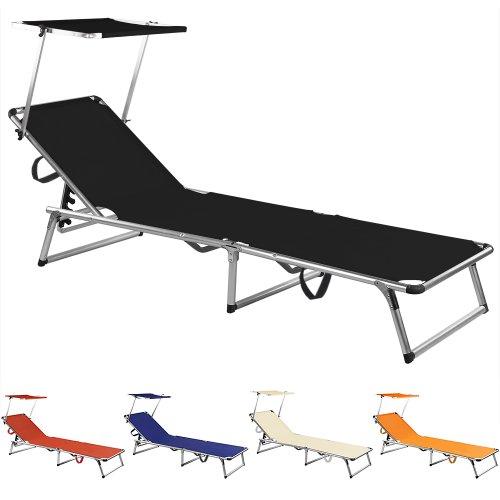 Sonnenliege Aluminium Gartenliege Sylt Dreibeinliege Strandliege Liegestuhl ✓ 200x58x30cm ✓ Schwarz