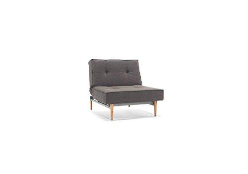 Splitback Sessel mit Liegefunktion, grau
