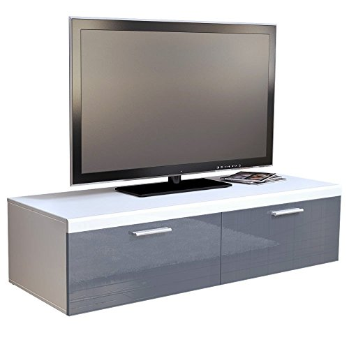 tv board lowboard atlanta in wei grau hochglanz 0 m bel24. Black Bedroom Furniture Sets. Home Design Ideas