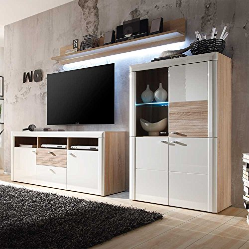 tv schrankwand in hochglanz wei sonoma eiche 3 teilig mit beleuchtung pharao24 m bel24. Black Bedroom Furniture Sets. Home Design Ideas