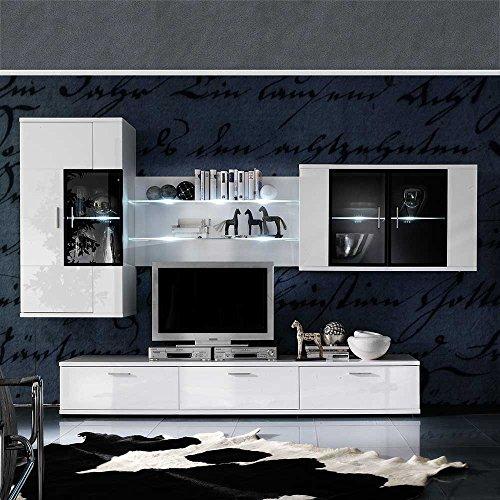 tv schrankwand in wei hochglanz beleuchtung 4 teilig mit blauer beleuchtung pharao24 m bel24. Black Bedroom Furniture Sets. Home Design Ideas