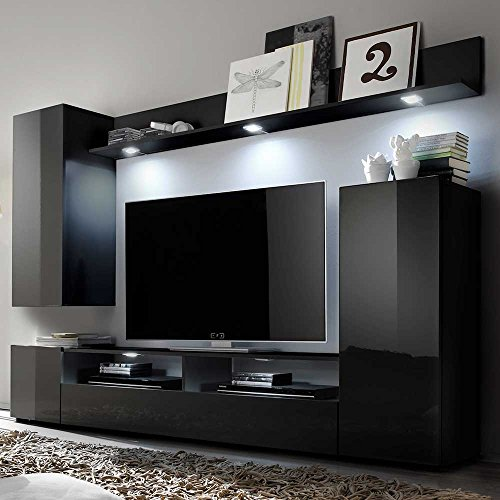 tv wand in schwarz hochglanz modern mit beleuchtung pharao24 0 m bel24 shop xxxl. Black Bedroom Furniture Sets. Home Design Ideas