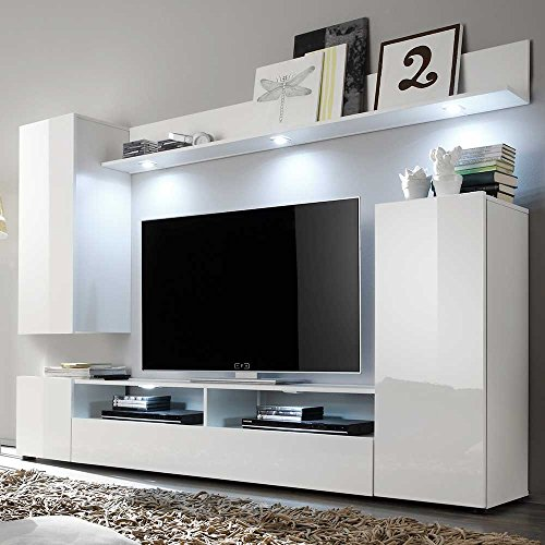 tv wohnwand in wei hochglanz online kaufen ohne beleuchtung pharao24 m bel24. Black Bedroom Furniture Sets. Home Design Ideas