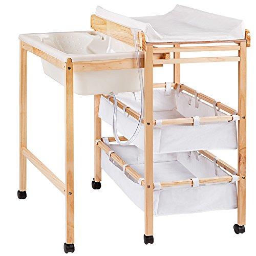 TecTake Wickelkommode mit Badewanne mit Ablagefächer und Wickelauflage