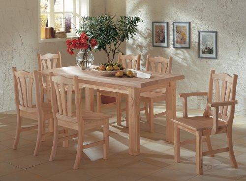 Toskana Tischgruppe Pinie Massiv - Esstisch 158 x 90 cm + 6 Stühle