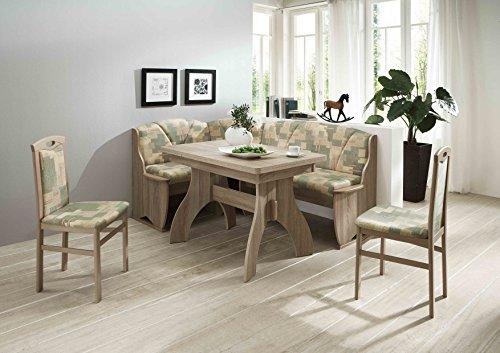 Truhen-Eckbankgruppe Eiche/Buche Sonoma Dekor; Eckbank, 2 Stühle und Winkelwangentisch, Bezug: grün-beige, variabel aufbaubar