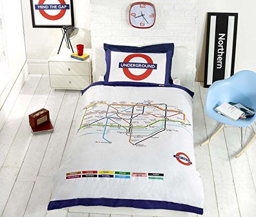 Underground London Tube Einzelbett Bettbezug und Kissenbezüge Bettwäsche–Bettwäsche-Set, weiß