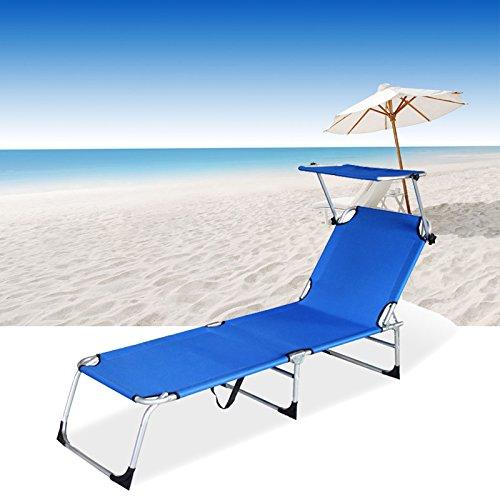 VINGO® Gartenliege Schwarz Klappbar mit Sonnendach Sonnenliege Camping 189cm Belastbar 110kg