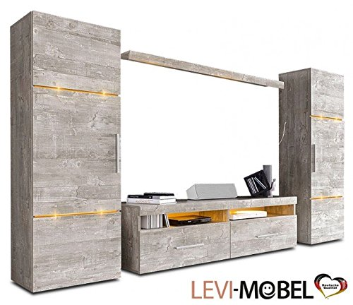 wohnwand 4 tlg anbauwand wohnzimmer lowboard regal beton. Black Bedroom Furniture Sets. Home Design Ideas
