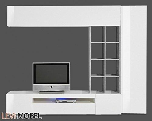 wohnwand 4 tlg anbauwand wohnzimmer wei hochglanz beton optik neu 490326 0 m bel24. Black Bedroom Furniture Sets. Home Design Ideas