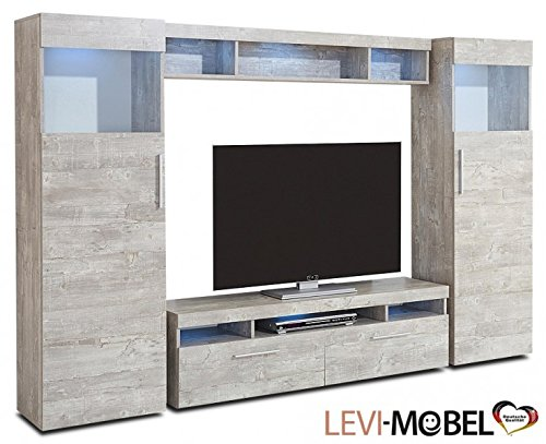 wohnwand 4 tlg wohnzimmer anbauwand lowboard vitrine beton. Black Bedroom Furniture Sets. Home Design Ideas