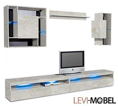 wohnwand 5 tlg anbauwand wohnzimmer schrank beton optik matt neu 898141 0 m bel24. Black Bedroom Furniture Sets. Home Design Ideas