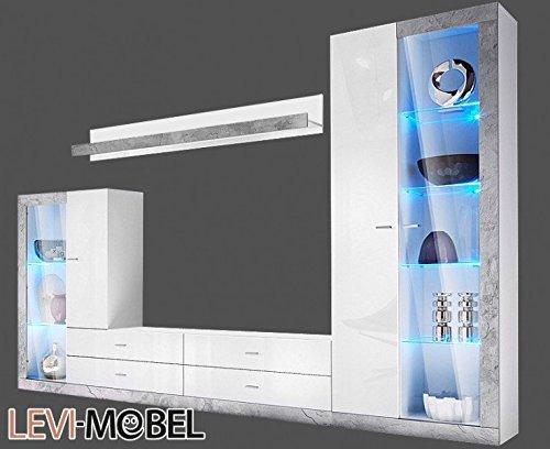 wohnwand 4 tlg anbauwand wohnzimmer wei hochglanz beton optik neu 735119 m bel24. Black Bedroom Furniture Sets. Home Design Ideas
