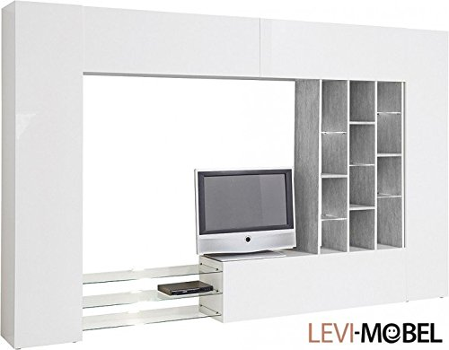 wohnwand 6 tlg wohnzimmer anbauwand wei hochglanz beton optik neu 521372 m bel24 shop xxxl. Black Bedroom Furniture Sets. Home Design Ideas