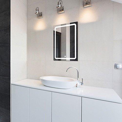 wandspiegel mit led beleuchtung 50x70cm 0 m bel24. Black Bedroom Furniture Sets. Home Design Ideas