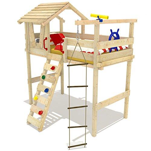 Wickeydream Hochbett Kinderbett Jungle Hut 90x200cm Etagenbett