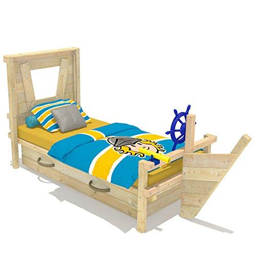 Wickeydream Kinderbett Abenteuerbett Spielbett Captain Sam inkl. Lattenboden 90x200cm Schiffslenker Blau