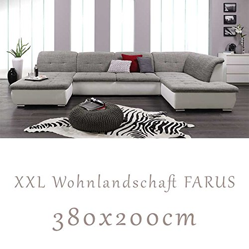 wohnlandschaft couchgarnitur xxl sofa u form weiss grau ottomane rechts m bel24 shop xxxl. Black Bedroom Furniture Sets. Home Design Ideas