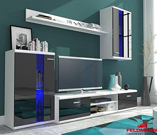 wohnwand anbauwand 4 teilig 6406 wei schwarz hochglanz. Black Bedroom Furniture Sets. Home Design Ideas