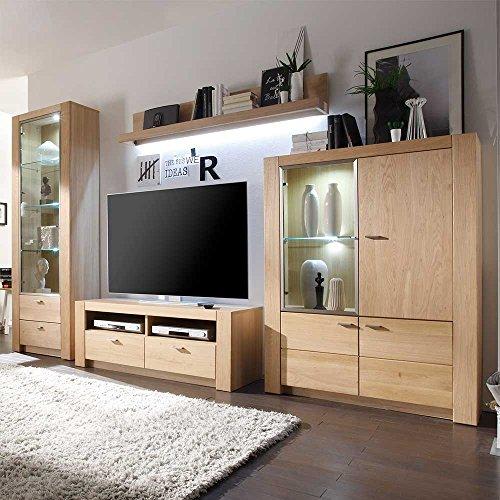 wohnwand aus eiche bianco ge lt 4 teilig mit beleuchtung pharao24 m bel24. Black Bedroom Furniture Sets. Home Design Ideas