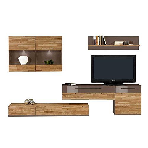 wohnwand in grau braun mit eiche massivholz 5 teilig pharao24 m bel24 shop xxxl. Black Bedroom Furniture Sets. Home Design Ideas