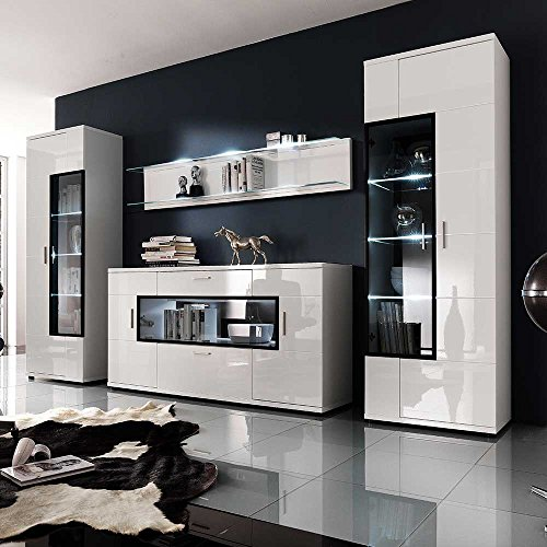 Wohnwand in hochglanz wei glas 4 teilig mit blauer for Moebel24 shop