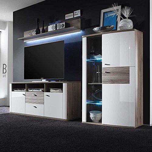 wohnwand in wei hochglanz eiche san remo dunkel 3 teilig ohne beleuchtung pharao24 0 m bel24. Black Bedroom Furniture Sets. Home Design Ideas