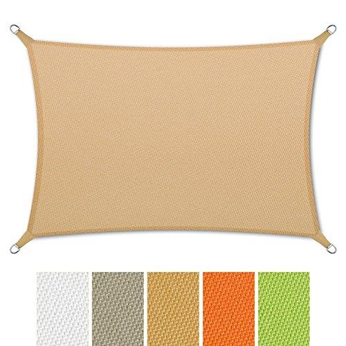 casa pura® Sonnensegel wasserabweisend imprägniert | Rechteck | Testnote 1.4 | UV Schutz | verschiedene Farben und Größen (sandfarben, 3x5m)
