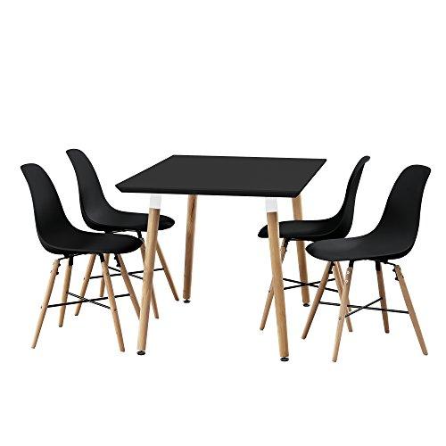 [en.casa] Esstisch Bambus mit 4 Stühlen schwarz 120x70cm Esszimmer Essgruppe Küche