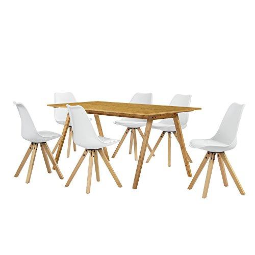 [en.casa] Esstisch Bambus mit 6 Stühlen weiß gepolstert 180x80cm Esszimmer Essgruppe Küche