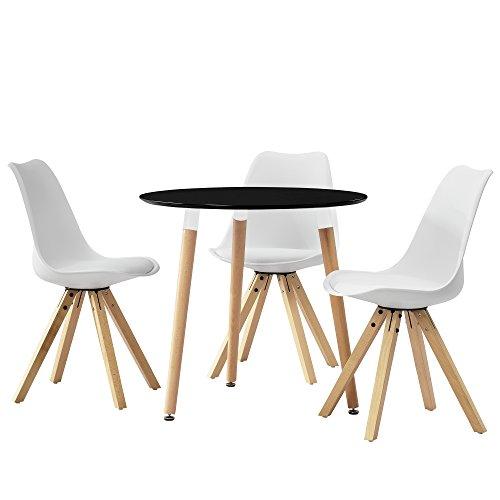 encasa esstisch rund schwarz 80cm mit 3 sthlen wei gepolstert esszimmer essgruppe kche 0. Black Bedroom Furniture Sets. Home Design Ideas