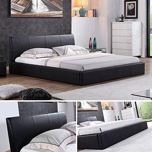i-flair® - Designer Polsterbett, Bett MONACO 160cm x 200cm schwarz - alle Farben & Größen
