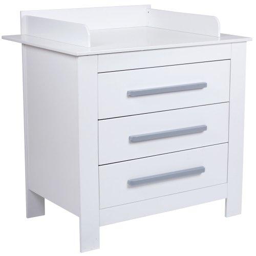 Infantastic Wickelkommode Wickeltisch mit 3 geräumigen Schubladen, weiß