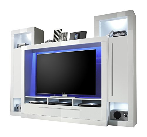 trendteam mx92101 wohnwand tv m bel weiss hochglanz bxhxt. Black Bedroom Furniture Sets. Home Design Ideas
