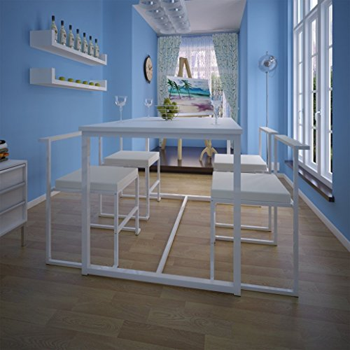 vidaXL Essgruppe Ess Set Sitzgruppe Esszimmerset Stuhlgruppe 1 Tisch + 4 Stühle