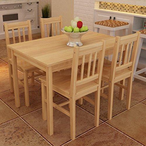 vidaXL Esszimmerstühle Holzstuhl Esstisch Küchentisch Essgruppe Sitzgruppe natur