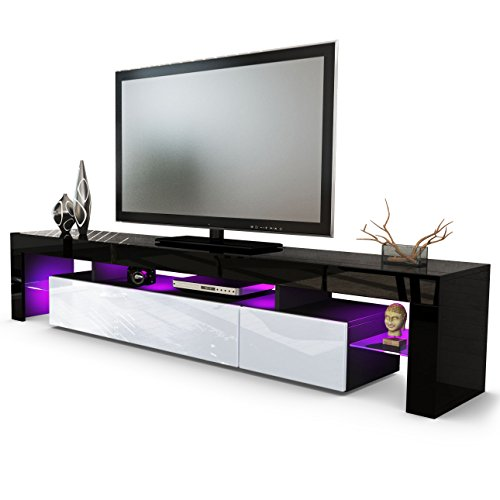 tv board lowboard lima v2 korpus in schwarz front in wei hochglanz m bel24. Black Bedroom Furniture Sets. Home Design Ideas