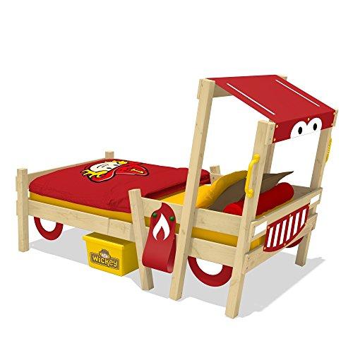 WICKEY Feuerwehrbett CrAzY Sparky Fun Kinderbett 90x200cm mit Lattenboden