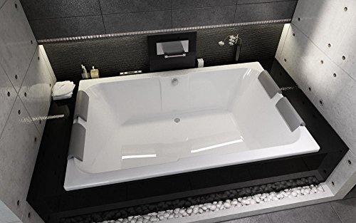 EXCLUSIVE LINE® Rechteckwanne Badewanne RIHO Sobek Badewanne für zwei 180 x 115 cm mit 4x Kopfstütze + Füße + Ablauf Viega Simplex