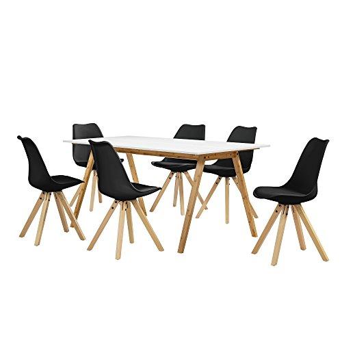 [en.casa] Esstisch Bambus weiß mit 6 Stühlen schwarz gepolstert 180x80cm Esszimmer Essgruppe Küche
