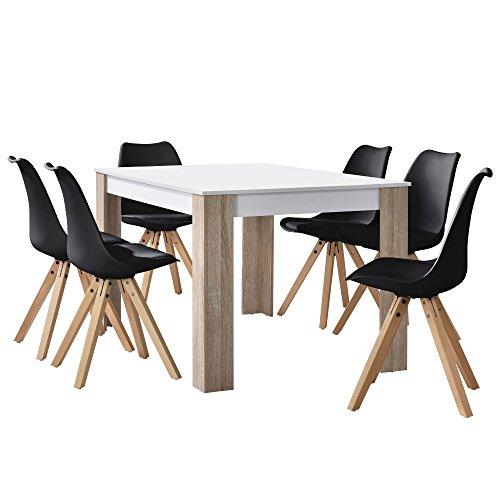 [en.casa] Esstisch Eiche weiß mit 6 Stühlen schwarz 140x90cm Esszimmer Essgruppe Küche Set
