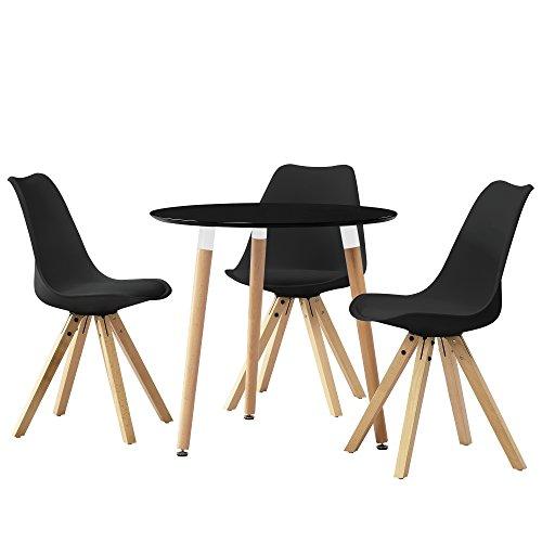encasa esstisch rund schwarz 80cm mit 3 sthlen schwarz gepolstert esszimmer essgruppe kche 0. Black Bedroom Furniture Sets. Home Design Ideas