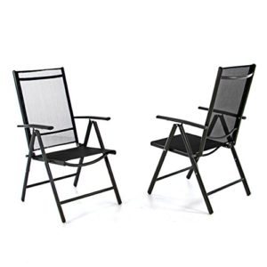 2er set klappstuhl aluminium gartenstuhl campingstuhl verstellbar rahmen anthrazit hochlehner fr. Black Bedroom Furniture Sets. Home Design Ideas
