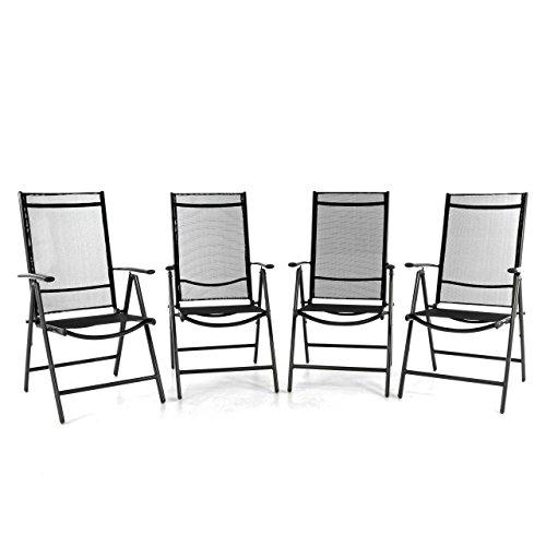 nexos 4er set klappstuhl aluminium gartenstuhl campingstuhl verstellbar rahmen anthrazit. Black Bedroom Furniture Sets. Home Design Ideas