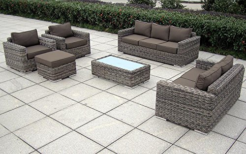 Baidani garten lounge garnitur rundrattan escape select taupe 190 x 148 x 60 cm 13a00006 for Lounge garnitur garten