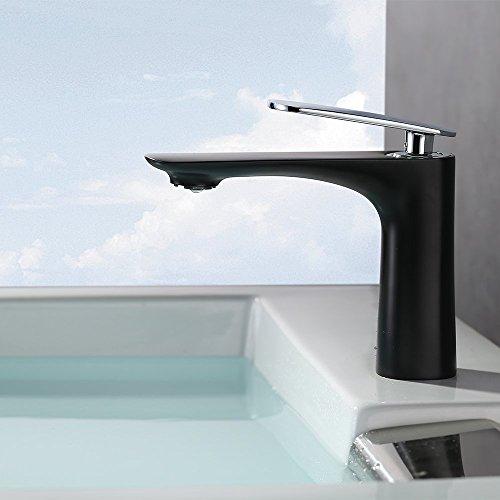 homelody elegant schwarz wasserhahn bad mit lack beschichtete einhebelmischer waschtischarmatur. Black Bedroom Furniture Sets. Home Design Ideas